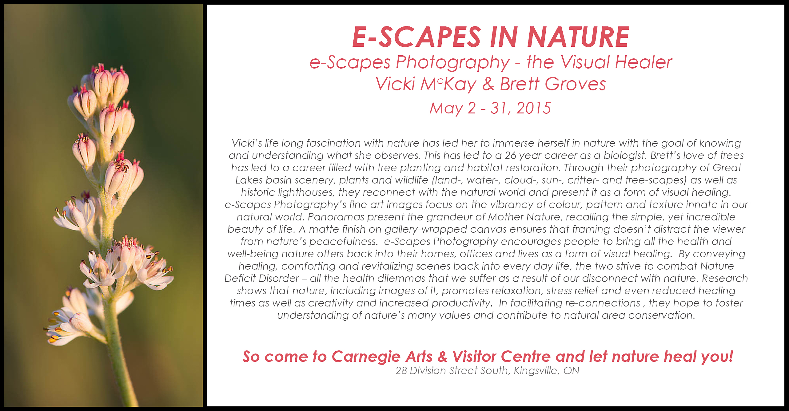 Poster - e-Scapes Photography show at the Carnegie Arts & Visitor Centre, Kingsville, ON