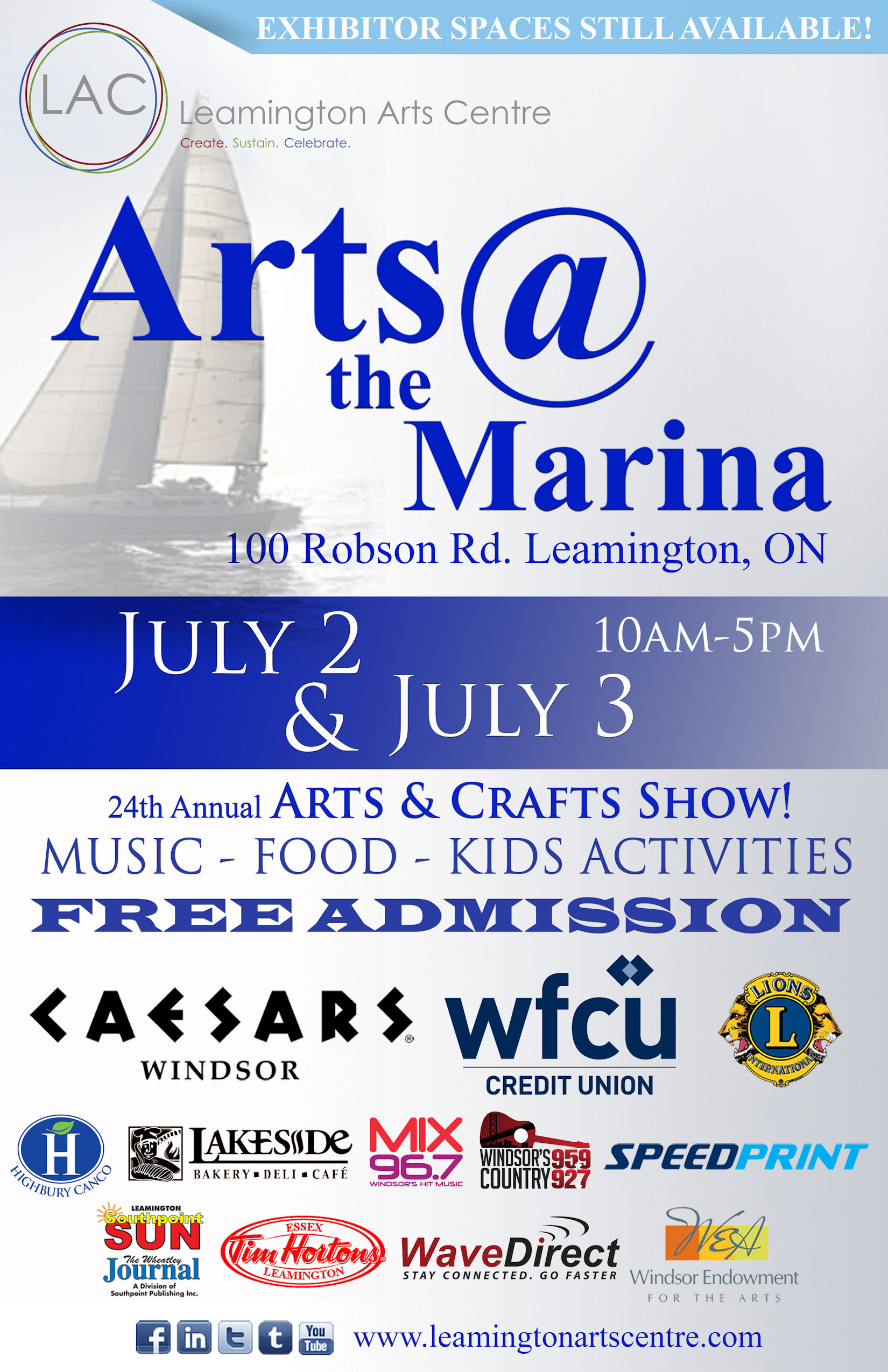 Arts @ the Marina Poster - July 2-3, 2016 10 am - 5 pm, Leamington Marina, 100 Robson Road, Leamington